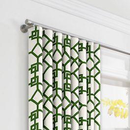 Asian Green Trellis Ripplefold Curtains Close Up