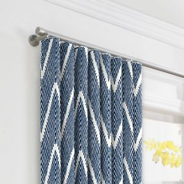 Tribal Navy Blue Chevron Ripplefold Curtains Close Up