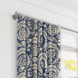 Natural & Blue Botanical  Ripplefold Curtains Close Up