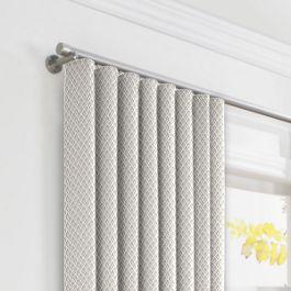 White Mini Diamond Ripplefold Curtains Close Up