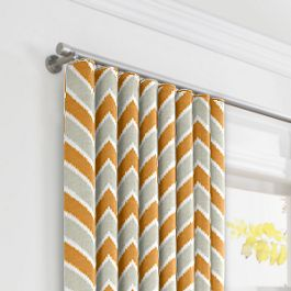 Tan & Orange Chevron  Ripplefold Curtains Close Up