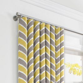 Gray & Yellow Chevron Ripplefold Curtains Close Up