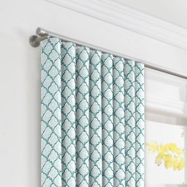 Aqua Blue Block Print Ripplefold Curtains Close Up