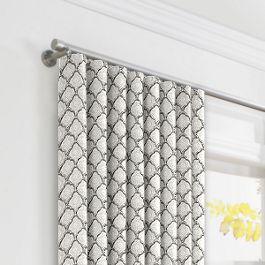 Gray Block Print Ripplefold Curtains Close Up