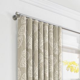 Beige Fan Leaf Ripplefold Curtains Close Up