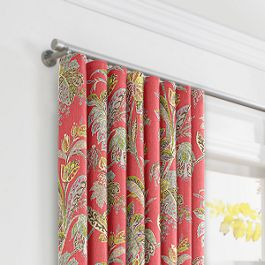 Intricate Pink Floral Ripplefold Curtains Close Up
