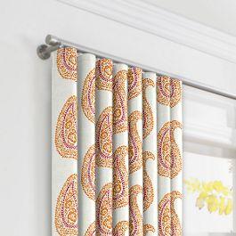 Orange & Pink Paisley Ripplefold Curtains Close Up