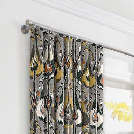 Gray & Orange Ikat Ripplefold Curtains Close Up