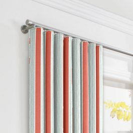 Aqua & Coral Pink Stripe Ripplefold Curtains Close Up