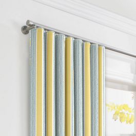 Teal & Yellow Stripe Ripplefold Curtains Close Up