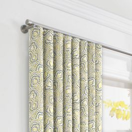 Yellow & Gray Scallop Ripplefold Curtains Close Up
