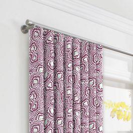 Seafoam & Purple Scallop Ripplefold Curtains Close Up