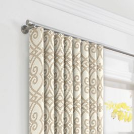 Tan Scroll Trellis Ripplefold Curtains Close Up