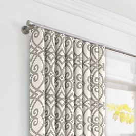 Gray Scroll Trellis Ripplefold Curtains Close Up