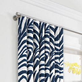 Blue Zebra Print Ripplefold Curtains Close Up