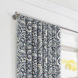 Navy Blue Paisley Ripplefold Curtains Close Up