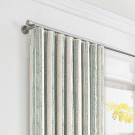 Embroidered Aqua Stripe Ripplefold Curtains Close Up