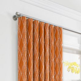 Burnt Orange Diamond Ripplefold Curtains Close Up