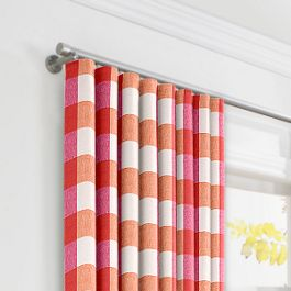 Pink & Orange Buffalo Check Ripplefold Curtains Close Up