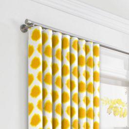 Bright Yellow Dot Ripplefold Curtains Close Up