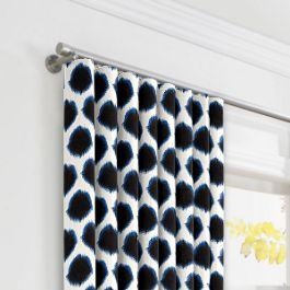 Black & Blue Dot Ripplefold Curtains Close Up