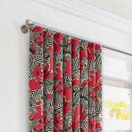 Black, White & Red Zebra Ripplefold Curtains Close Up
