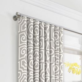 Modern Gray Trellis Ripplefold Curtains Close Up