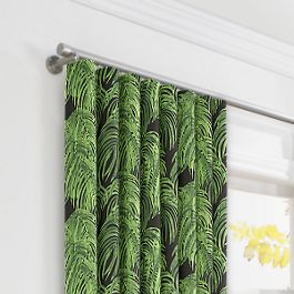 Green & Black Palm Leaf Ripplefold Curtains Close Up