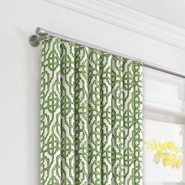 Green Watercolor Trellis Ripplefold Curtains Close Up