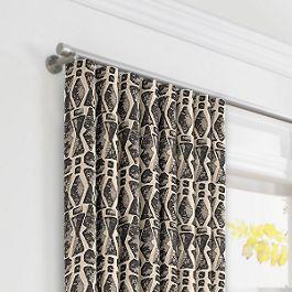Tan & Black Tribal Print Ripplefold Curtains Close Up