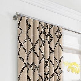 Black & Tan Tribal Trellis Ripplefold Curtains Close Up