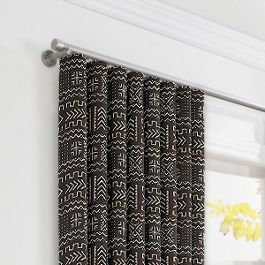 Black Woven Tribal Ripplefold Curtains Close Up