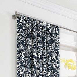 Modern Navy Blue Floral Ripplefold Curtains Close Up