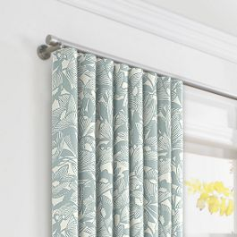 Modern Light Blue Floral Ripplefold Curtains Close Up