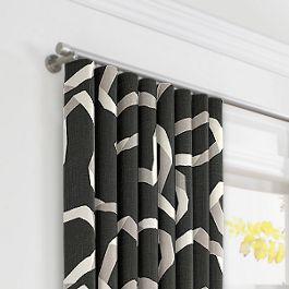 Charcoal Gray Ribbon Ripplefold Curtains Close Up