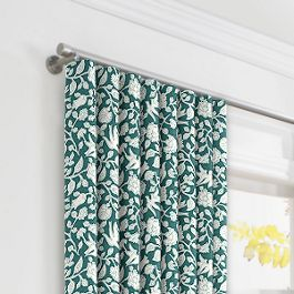 Blue Floral & Bird Ripplefold Curtains Close Up