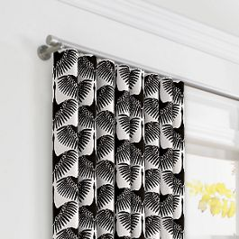 Flocked Black & White Bird Ripplefold Curtains Close Up