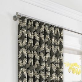 Dark Gray & White Fan Ripplefold Curtains Close Up