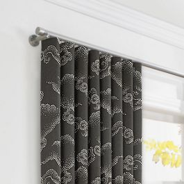 Charcoal Gray Cloud Ripplefold Curtains Close Up