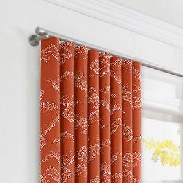 Burnt Orange Cloud Ripplefold Curtains Close Up