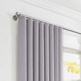 Purple Linen Ripplefold Curtains Close Up