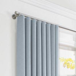 Blue-Gray Linen Ripplefold Curtains Close Up
