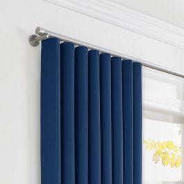 Dark Navy Blue Linen Ripplefold Curtains Close Up