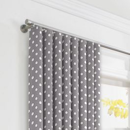 White & Gray Polka Dot Ripplefold Curtains Close Up