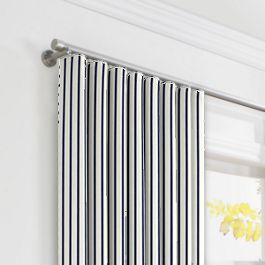 Navy & White Stripe Ripplefold Curtains Close Up