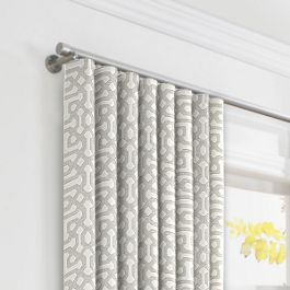 Light Gray Trellis Ripplefold Curtains Close Up
