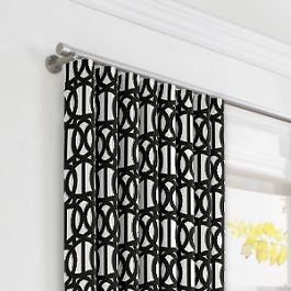 Black & White Trellis Ripplefold Curtains Close Up