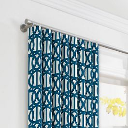 Bright Blue Trellis Ripplefold Curtains Close Up