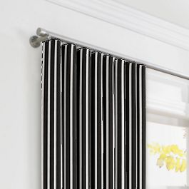 Black & White Thin Stripe  Ripplefold Curtains Close Up