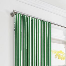 Emerald Green Thin Stripe Ripplefold Curtains Close Up